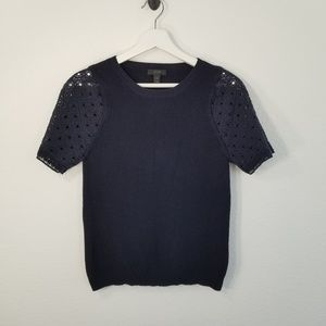 J Crew Knit Sweater Top with Crochet Arms Navy Blu